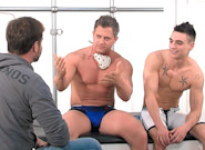 Gay Muscle Men : Post Game Analysis - Brenden -amp; Johnny - punish - Brenden Cage -amp; Johnny Torque!