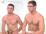 Gay Muscle Men : Post Game Analysis -� Connor Fucks Axel - Axel Flint -amp; Connor Maguire!