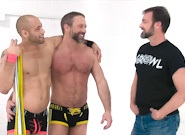 Gay Muscle Men : Post Game Analysis - Leo Forte Flogs Dirk Caber - Dirk Caber -amp; Leo Forte!